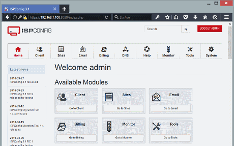 ISPConfig3 Admin Panel