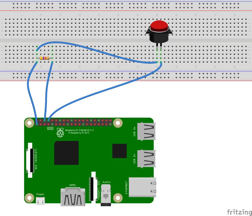 Taster mit Raspberry Pi beschalten – Schaltplan