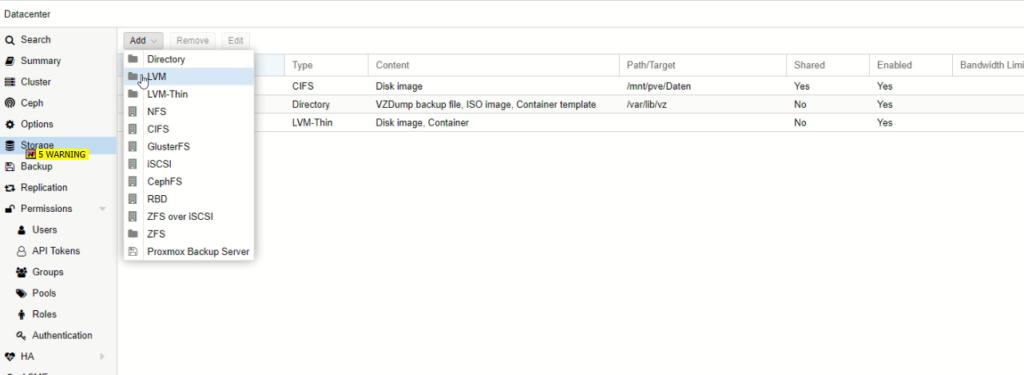 eine neue lokale Festplatte zu Proxmox hinzufügen